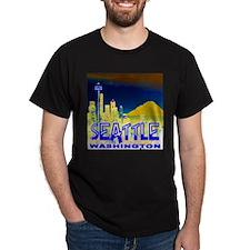 Seattle Washington Golden Skyline T-Shirt