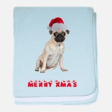 Pug Christmas baby blanket