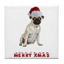Pug Christmas Tile Coaster