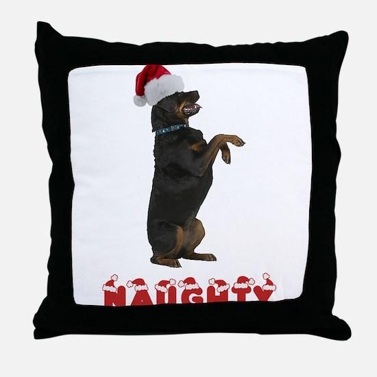 Naughty Rottweiler Throw Pillow