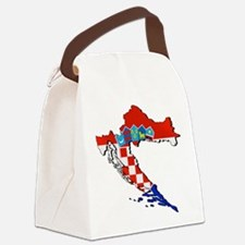 Flag Map of Croatia Canvas Lunch Bag