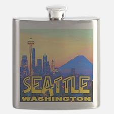 Seattle WA Mt. Rainier Golden Skyline Flask