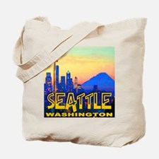 Seattle WA Mt. Rainier Golden Skyline Tote Bag