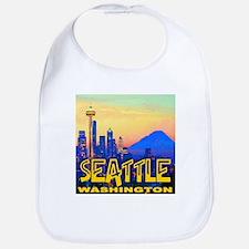 Seattle WA Mt. Rainier Golden Skyline Bib