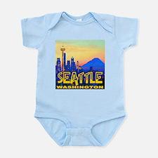 Seattle WA Mt. Rainier Golden Skyline Infant Bodys