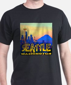 Seattle WA Mt. Rainier Golden Skyline T-Shirt