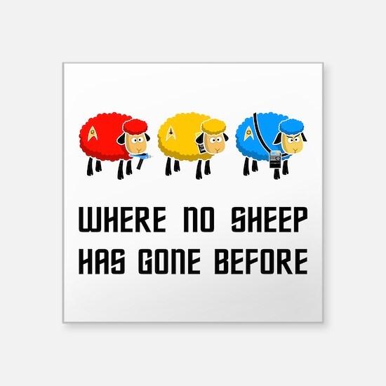 """Where no Sheep Has Gone Square Sticker 3"""" x 3"""""""