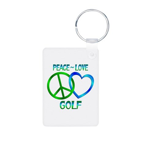 Peace Love Golf Aluminum Photo Keychain