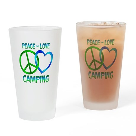 Peace Love Camping Drinking Glass