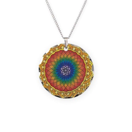 Sunflower Crown Mandala Necklace Circle Charm
