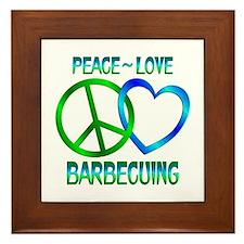Peace Love Barbecuing Framed Tile