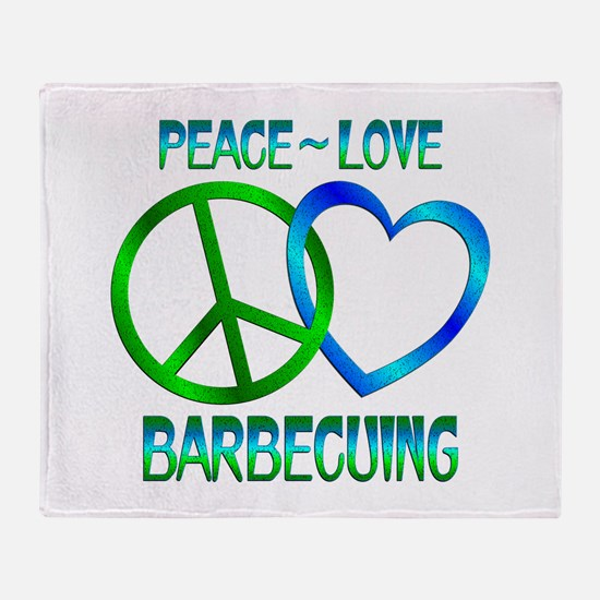 Peace Love Barbecuing Throw Blanket