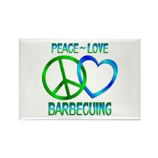 Peace Love Barbecuing Rectangle Magnet (10 pack)