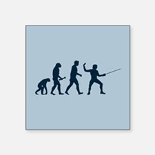 "Fencing Evolution Square Sticker 3"" x 3"""