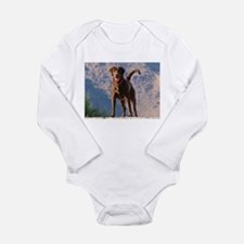 Lovable Chocolate Lab Long Sleeve Infant Bodysuit