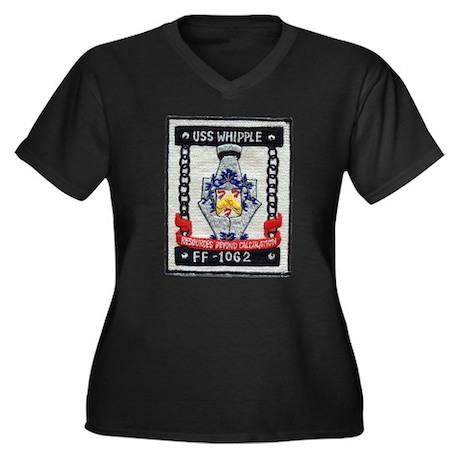 USS WHIPPLE Women's Plus Size V-Neck Dark T-Shirt