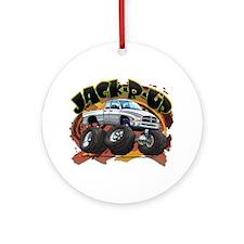 White Jack-R-Up Ram Ornament (Round)