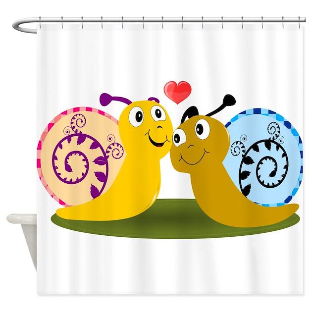 Snail Shower Design Ideas: Lover Snail Shower Curtain By Bimbys