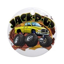 Yellow Jack-R-Up Ram Ornament (Round)