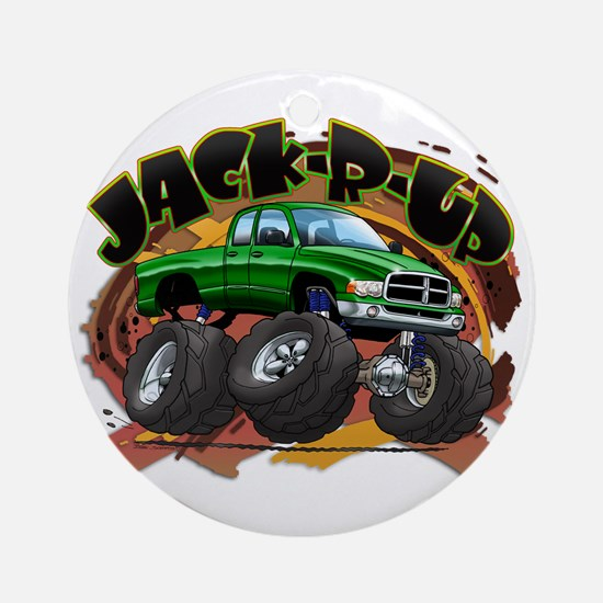 Green Jack-R-Up Ram Ornament (Round)