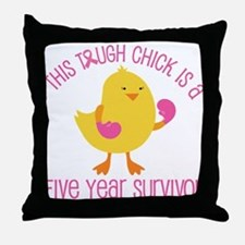 Breast Cancer 5 Year Survivor Chick Throw Pillow