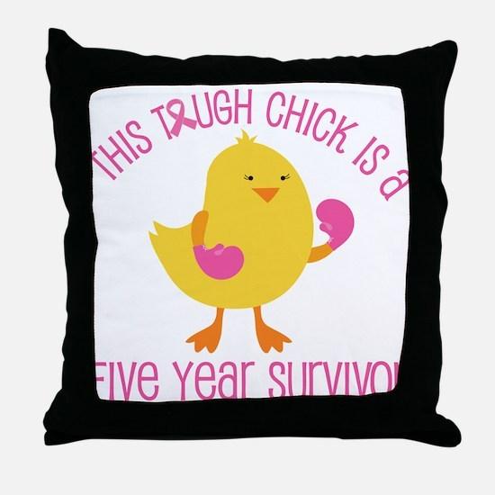 Breast Cancer 5 Year Survivor Chick Throw Pillow