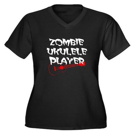 Zombie Ukulele Player Women's Plus Size V-Neck Dar