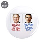 """Give Obama 8 Years 3.5"""" Button (10 pack)"""