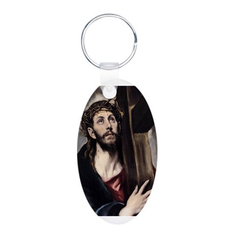 Christ carrying the Cross Aluminum Oval Keychain