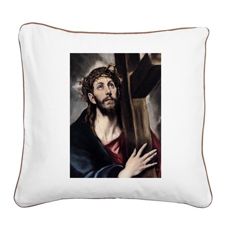 Christ carrying the Cross Square Canvas Pillow