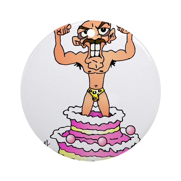 Man Jumping Out Of A Birthday Cake Ornament (Round By