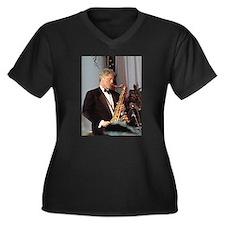 Bill Clinton Women's Plus Size V-Neck Dark T-Shirt