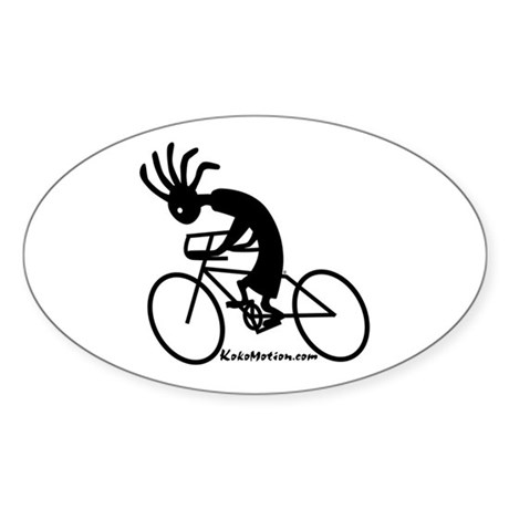 Kokopelli Road Cyclist Oval Sticker