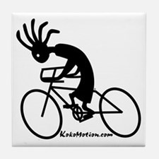 Kokopelli Road Cyclist Tile Coaster