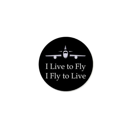 I Live to Fly Mini Button (10 pack)