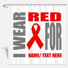 Red Awareness Ribbon Customized Shower Curtain