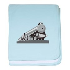 Steam Train Locomotive Retro baby blanket