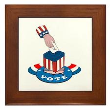 American Election Voting Ballot Box Retro Framed T