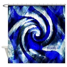 Mod Blue Swirl Shower Curtain