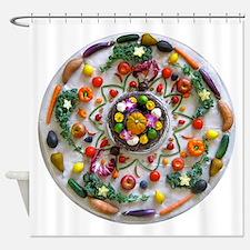Fruit & Veggie Mandala Shower Curtain