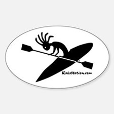 Kokopelli Kayaker Oval Stickers