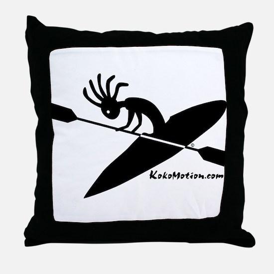 Kokopelli Kayaker Throw Pillow
