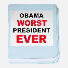 anti obama worst presdarkbumplL.png baby blanket