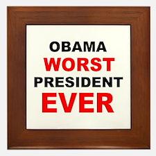anti obama worst presdarkbumplL.png Framed Tile
