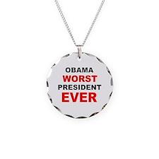 anti obama worst presdarkbumplL.png Necklace