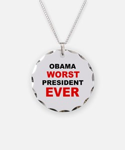 anti obama worst presdarkbumplL.png Necklace