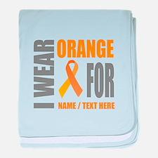 Orange Awareness Ribbon Customized baby blanket