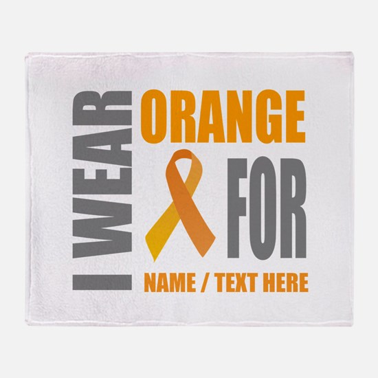 Orange Awareness Ribbon Customized Throw Blanket