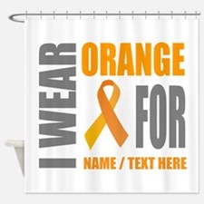 Orange Awareness Ribbon Customized Shower Curtain