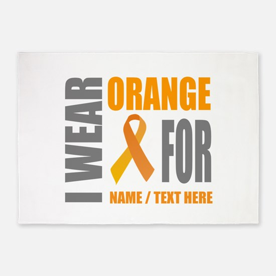 Orange Awareness Ribbon Customized 5'x7'Area Rug
